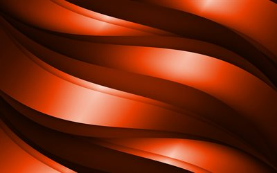 orange 3D waves, abstract waves patterns, waves backgrounds, 3D waves, orange wavy background, 3D waves textures, wavy textures, background with waves