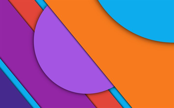colorful geometric shapes, 4k, artwork, creative, lollipop, geometric shapes, material design, geometry, android, colorful backgrounds, abstract art