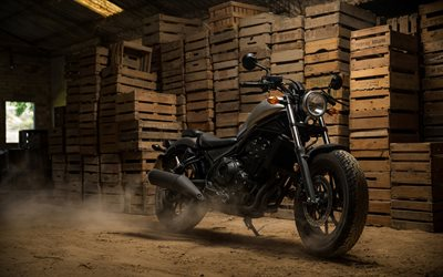 Honda Rebel 500, 2018, 4k, luxury new black motorcycles, cool bike, exterior, Japanese motorcycles, cruiser, Honda