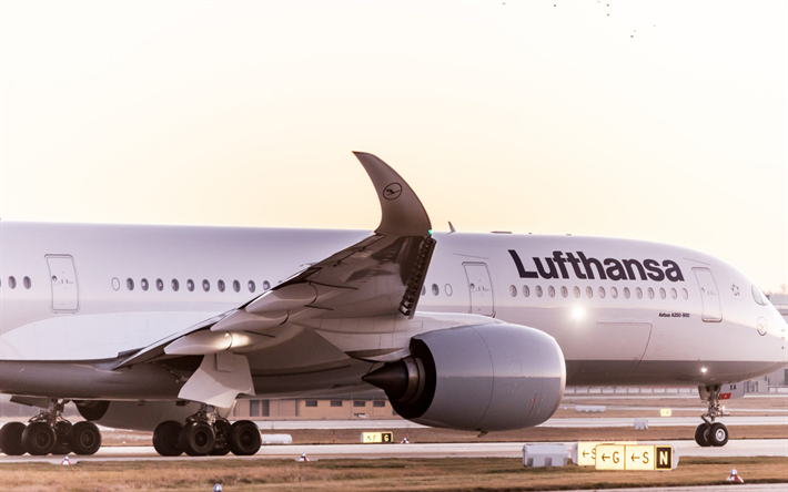 Airbus A350-900, Lufthansa, passenger plane, takeoff, airport, evening, sunset, air travel