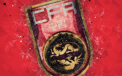China national football team, 4k, geometric art, logo, red abstract background, Asian Football Confederation, Asia, emblem, China, football, AFC, grunge style, creative art, Peoples Republic of China