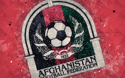 Afghanistan national football team, 4k, abstraction, mosaic, geometric art, logo, red abstract background, Asian Football Confederation, Asia, emblem, Afghanistan, football, AFC, grunge style, creative art