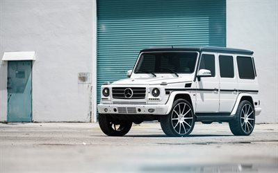 Mercedes-Benz G500, W463, 2018, new white G-Class, exterior, tuning, white SUV, German cars, Mercedes