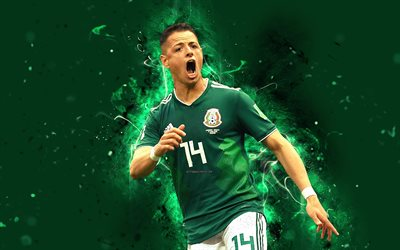 4k, Chicharito, abstract art, Mexico National Team, fan art, Javier Hernandez, soccer, footballers, neon lights, Mexican football team