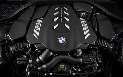powerful car engine, V8, 530 horsepower, turbocharger, BMW M8 engine, 2018, 8-Series, M850i xDrive, BMW