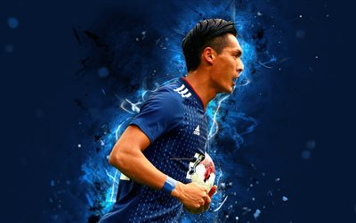 Tomoaki Makino, 4k, abstract art, goalkeeper, Japan National Team, fan art, Makino, soccer, footballers, neon lights, Japanese football team