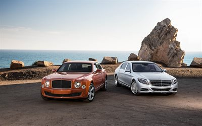 Bentley Mulsanne, 2018, Mercedes-Maybach S650, silver W222, luxury cars, exterior, orange Mulsanne