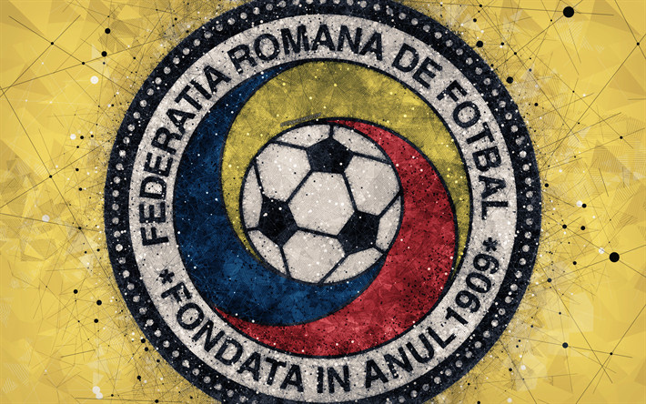 Romania national football team, 4k, geometric art, logo, yellow abstract background, UEFA, Europe, emblem, Romania, football, grunge style, creative art