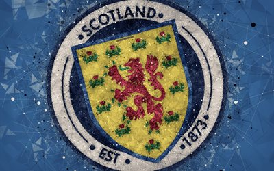 Scotland national football team, 4k, geometric art, logo, blue abstract background, UEFA, Europe, emblem, Scotland, football, grunge style, creative art