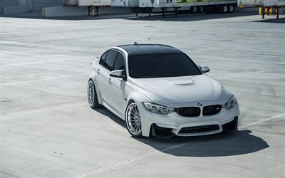 BMW M3, 2018, F80, white sedan, tuning M3, luxury wheels, new white M3, German cars, BMW