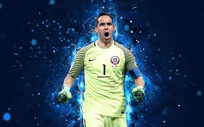 4k, Claudio Bravo, abstract art, goalkeeper, Chile National Team, fan art, Bravo, soccer, footballers, neon lights, football stars, Chilean football team