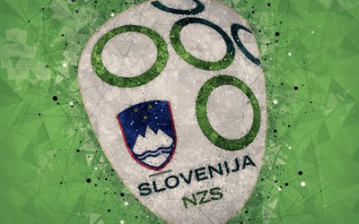 Slovenia national football team, 4k, geometric art, logo, green abstract background, UEFA, Europe, emblem, Slovenia, football, grunge style, creative art