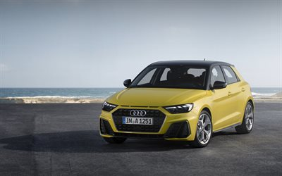 Audi A1 Sportback, 2018, S-Line, exterior, front view, new yellow, A1, German cars, hatchback, Audi