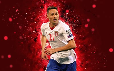 Nemanja Matic, 4k, abstract art, Serbia National Team, fan art, Matic, soccer, footballers, neon lights, Serbian football team