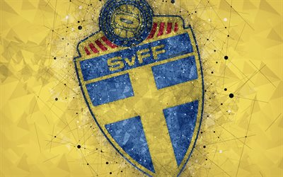 Sweden national football team, 4k, geometric art, logo, yellow abstract background, UEFA, Europe, emblem, Sweden, football, grunge style, creative art