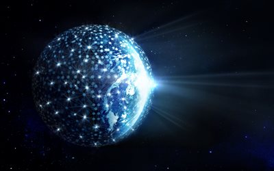 4k, Social Network, Earth, space, network concept, globe, internet, galaxy
