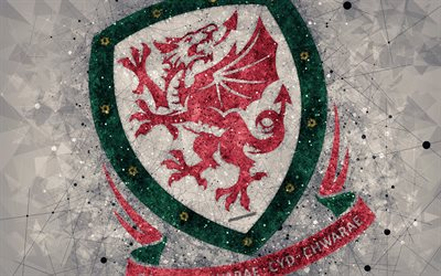 Wales national football team, 4k, geometric art, logo, gray abstract background, UEFA, Europe, emblem, Wales, football, grunge style, creative art