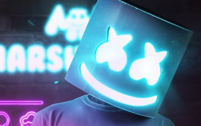 DJ Marshmello, party, blue neon light, American DJ, electronic music, EDM, Christopher Comstock