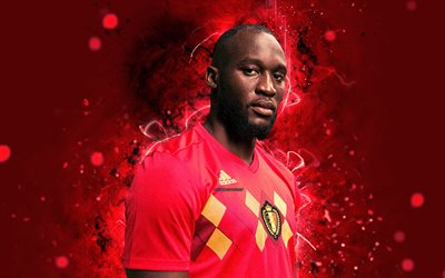 4k, Romelu Lukaku, abstract art, Belgium National Team, fan art, Lukaku, soccer, footballers, neon lights, Belgian football team