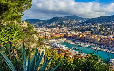 Nice, yacht, summer, cityscape, resort, Cote dAzur, French Riviera, France, Port Lympia