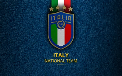 Italy national football team, 4k, blue leather texture, new logo, UEFA, Europe, emblem, Italy, new emblem, football, creative art, flag of Italy