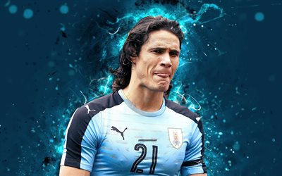 4k, Edinson Cavani, abstract art, Uruguay National Team, fan art, Cavani, soccer, footballers, neon lights, Uruguayan football team