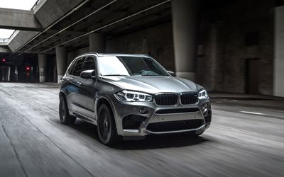 BMW X5M, 2018, F85, luxury sports SUV, silver new X5, tuning, German cars, road, speed, BMW