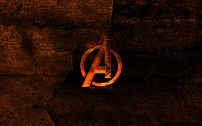 Avengers fiery logo, orange stone background, Avengers, creative, Avengers logo, brands