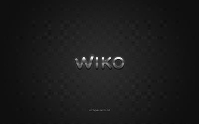 Wiko logo, gray shiny logo, Wiko metal emblem, wallpaper for Wiko smartphones, gray carbon fiber texture, Wiko, brands, creative art
