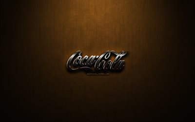 Coca-Cola glitter logo, creative, bronze metal background, Coca-Cola logo, brands, Coca-Cola