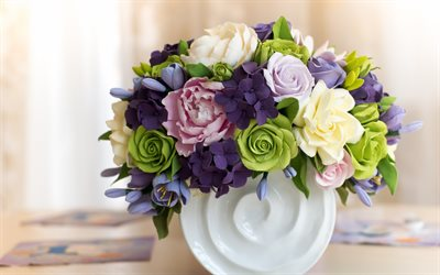 beautiful rose bouquet, green roses, purple roses, beautiful flowers, roses