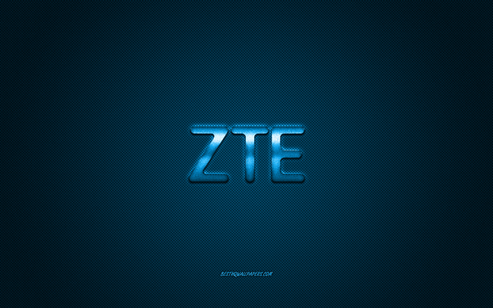 Download Wallpapers Zte Logo Blue Shiny Logo Zte Metal Emblem Wallpaper For Zte Smartphones Blue Carbon Fiber Texture Zte Brands Creative Art For Desktop Free Pictures For Desktop Free