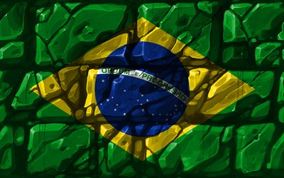 Brazilian flag, brickwall, 4k, South American countries, national symbols, Flag of Brazil, creative, Brazil, South America, Brazil 3D flag