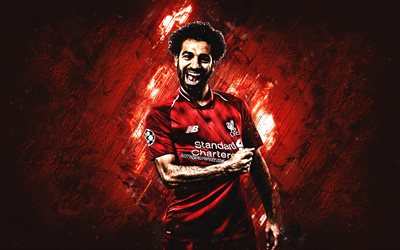 Mohamed Salah, Liverpool FC, Egyptian football player, Premier League, England, red stone background, creative art, football players Liverpool FC 2019, football, Salah