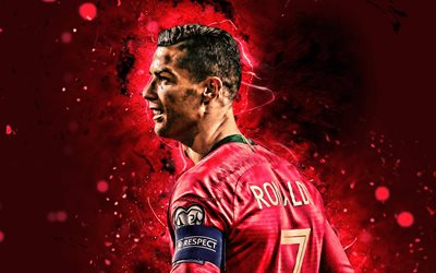 Cristiano Ronaldo, 2019, back view, 4k, Portugal National Team, soccer, CR7, Cristiano Ronaldo dos Santos Aveiro, neon lights, Portuguese football team, Ronaldo
