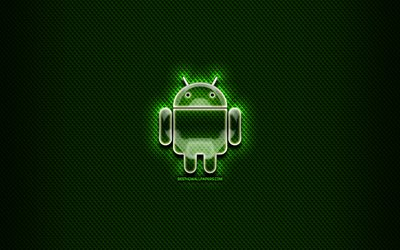 Android glass logo, green background, artwork, brands, Android logo, creative, Android