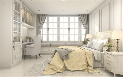 modern interior design, bedroom, classic style, stylish interior, beige bedroom, sofa near the window