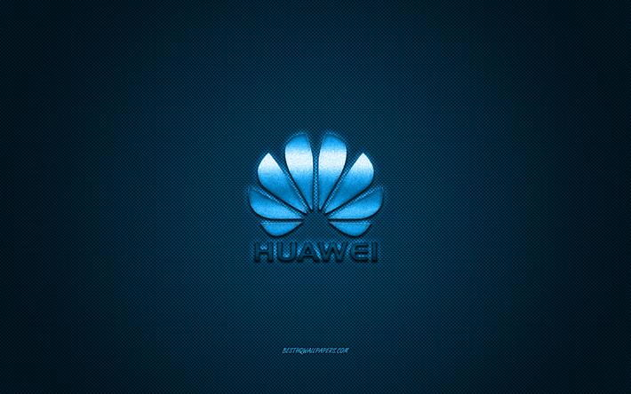 Scarica Sfondi Huawei Logo Blu Shiny Logo Huawei Metallo Emblema