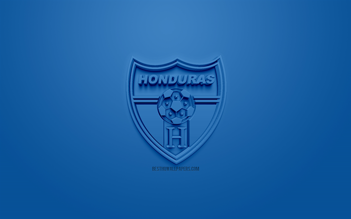 Honduras national football team, creative 3D logo, blue background, 3d emblem, Honduras, CONCACAF, 3d art, football, stylish 3d logo
