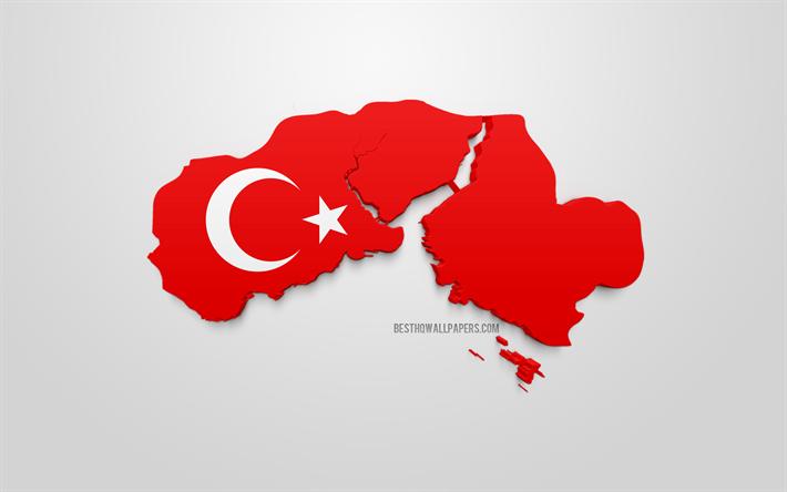 Lataa Kuva Istanbul Kartta Siluetti 3d Lippu Istanbul 3d Art