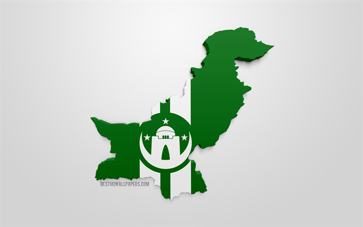 Download wallpapers Karachi map silhouette, 3d flag of