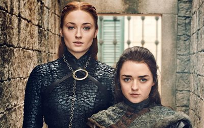 Arya Stark, Sansa Stark, Game Of Thrones, 2019 movie, Maisie Williams, Sophie Turner, Game Of Thrones Season 8, Arya and Sansa