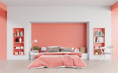 pink bedroom interior, modern interior design, bedroom, pink walls, stylish interior design