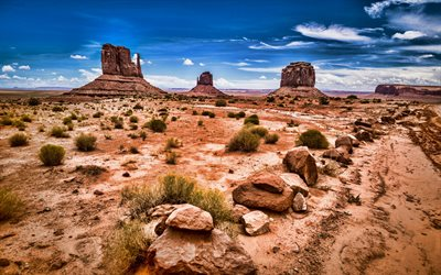 Monument Valley, HDR, USA, american landmarks, mountains, Navajo Nation, Colorado Plateau, desert, Oljato-Monument Valley, Utah, America