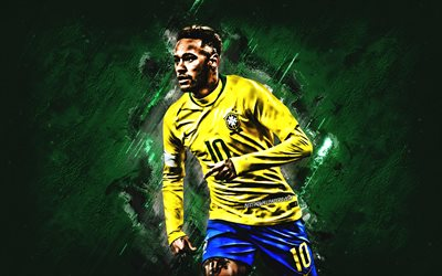 Neymar Jr, Brazil national football team, creative green background, football stars, Brazilian soccer player, striker, Brazil, Neymar