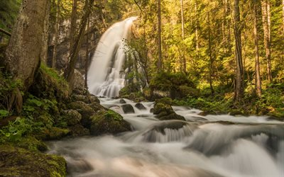 mountain waterfall, rock, forest, waterfall in the forest, Austria, beautiful landscapes, waterfalls