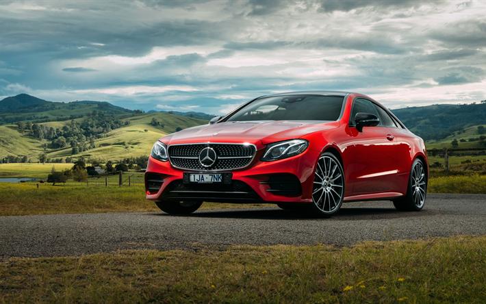 Télécharger fonds d'écran Mercedes-Benz Classe E Coupé, 4k, en 2017, les voitures, la route, le ...