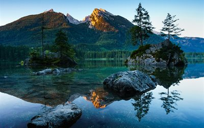 Berchtesgaden, lake, mountains, sunset, Bavaria, Germany