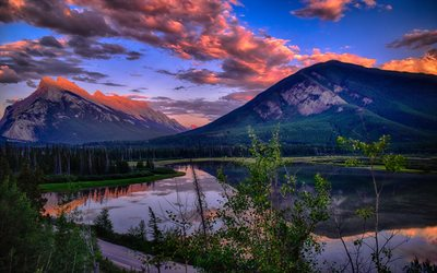 Vermillion Lakes, Sunset, mountains, forest, lakes, Banff, Canada