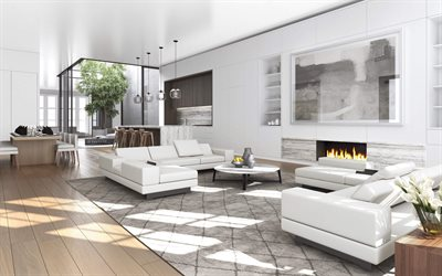 Interior of living room, modern design, white interior, living room